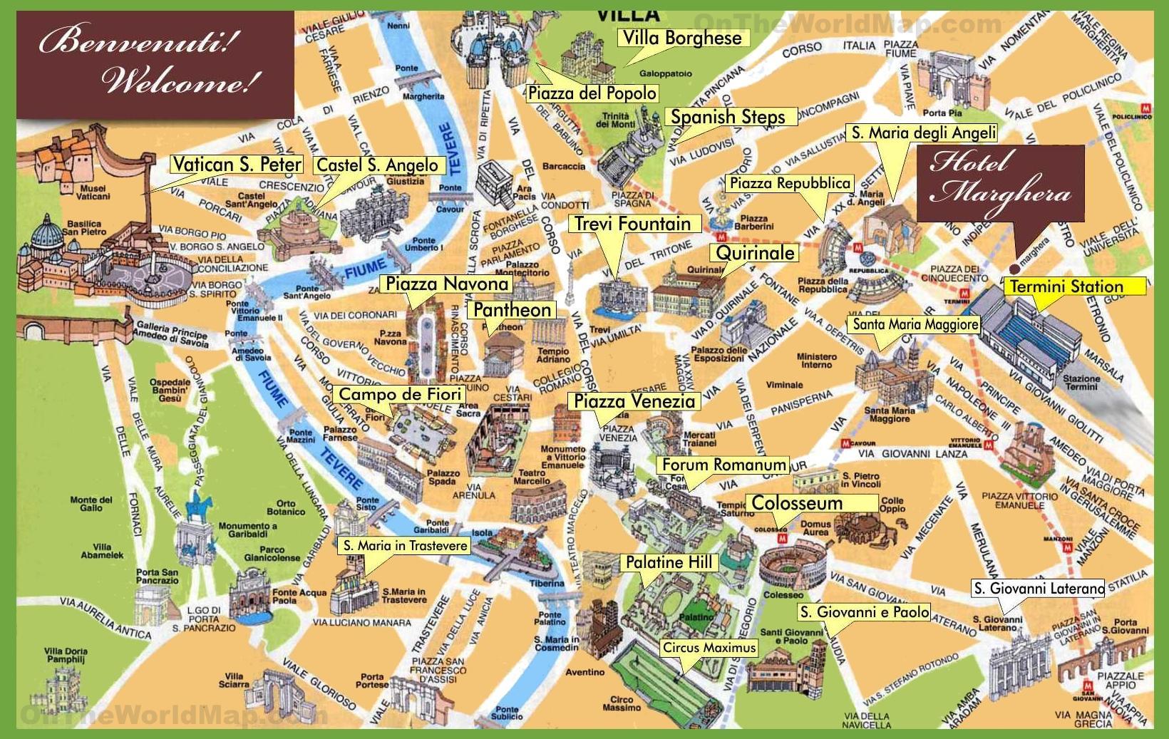 Rim Zduraznuje Mapa Mapa Rima Highlights Lazio Italie
