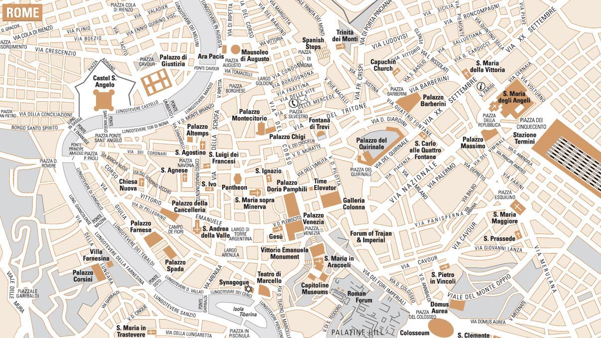 Jednoducha Mapa Rima Mapa Jednoduche Rim Lazio Italie
