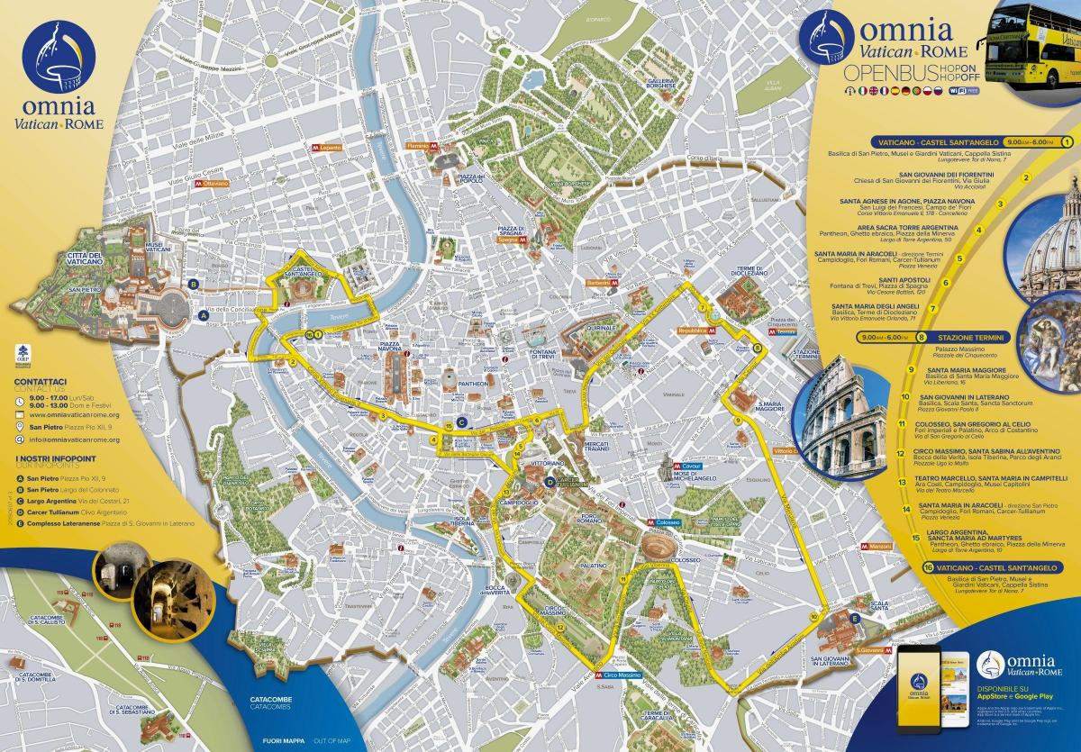 Mapa Rome open tour bus route